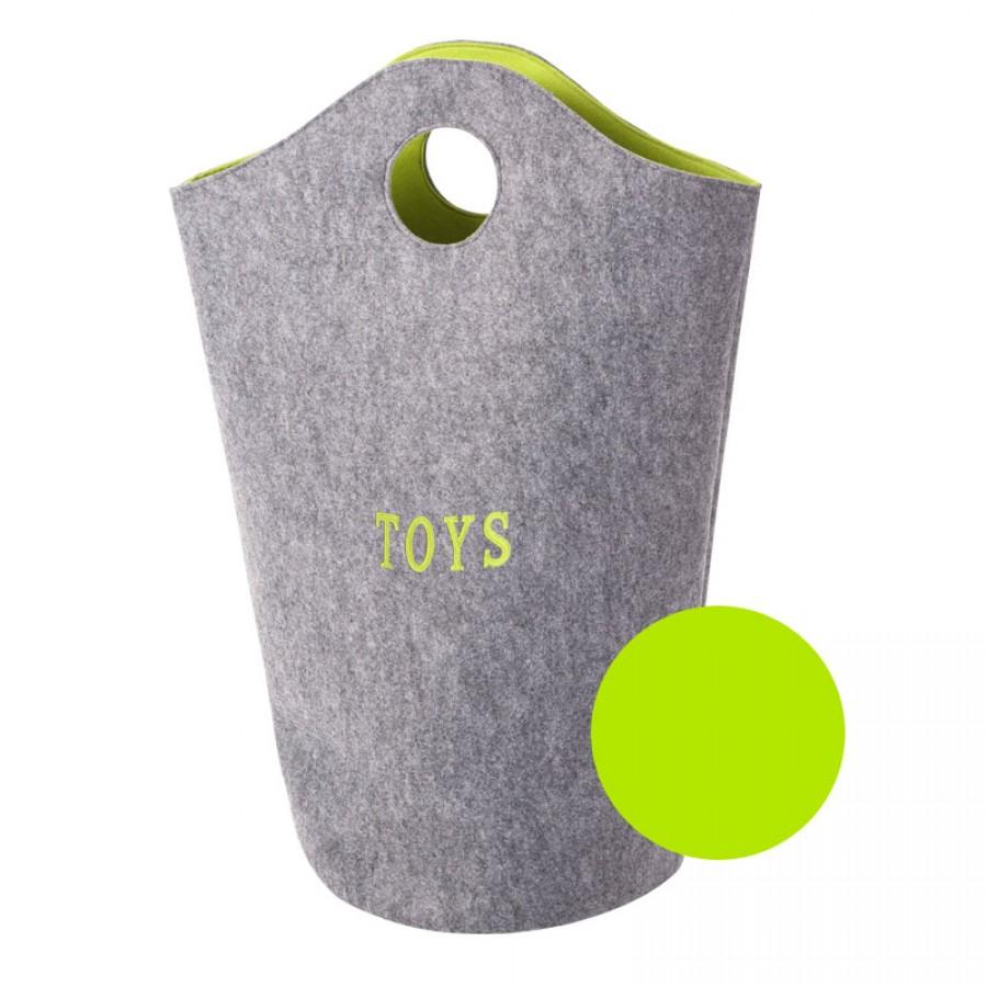 Childhome - Filcowa torba na zabawki szary i limonka 31x32x72 - Esy Floresy
