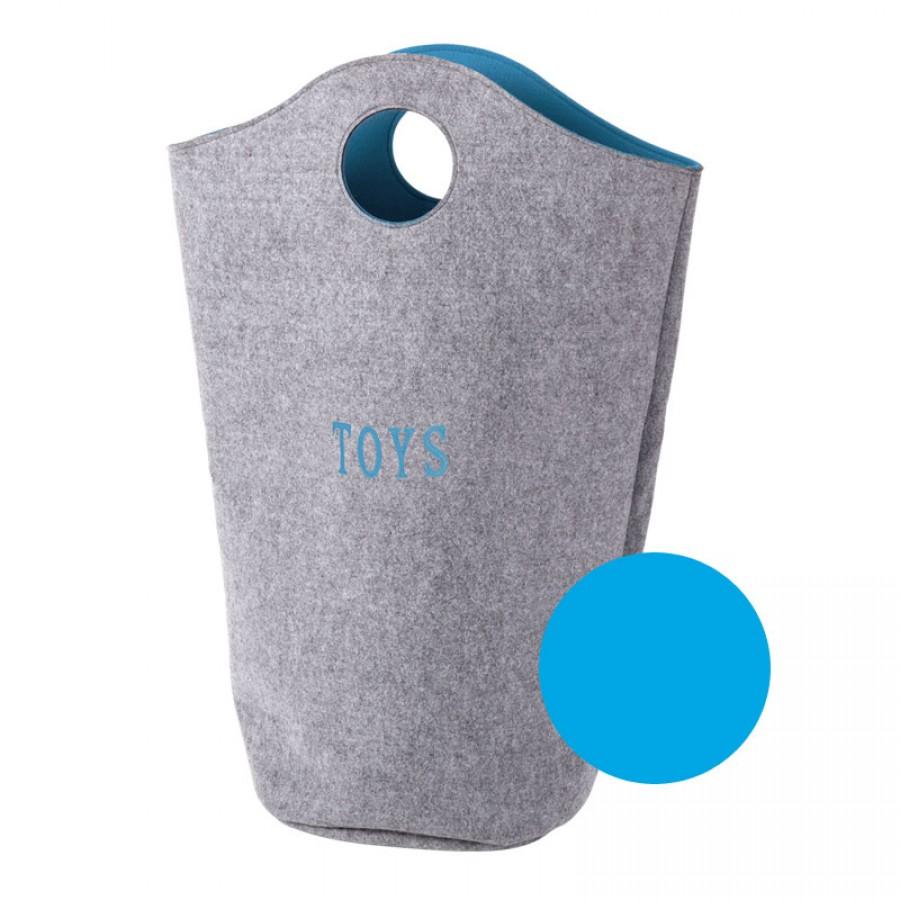 Childhome  - Filcowa torba na zabawki szary i turkus 31x32x72 - Esy Floresy