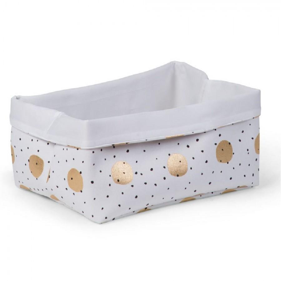 Childhome - Pudełko płócienne 40 x 32 x 20 cm Gold Dots - Esy Floresy