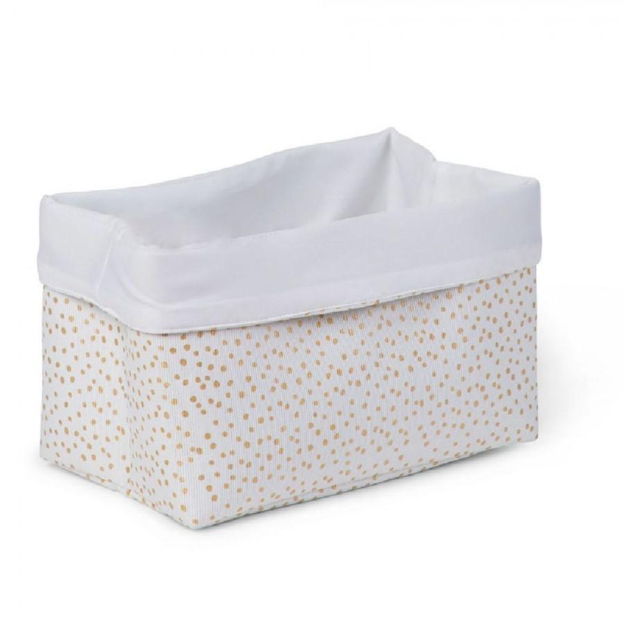 Childhome - Pudełko materiałowe 32x20x20 złote kropki - Esy Floresy
