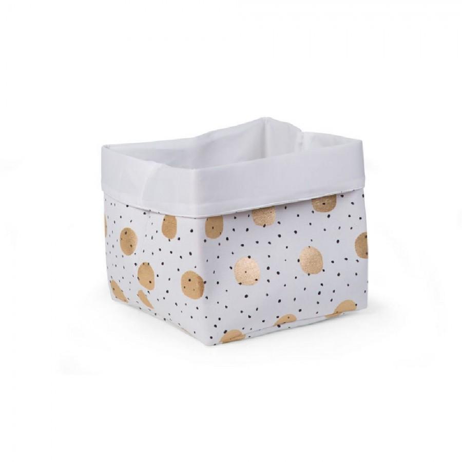 Childhome - Pudełko płócienne 32 x 32 x 29 cm Gold Dots - Esy Floresy