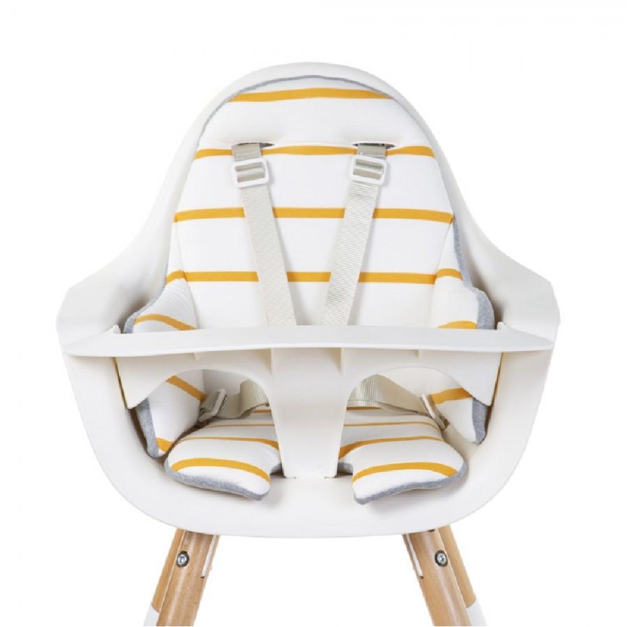 Childhome - Dwustronny ochraniacz do krzesełka Evolu 2 Jersey Ochre Stripes - Esy Floresy