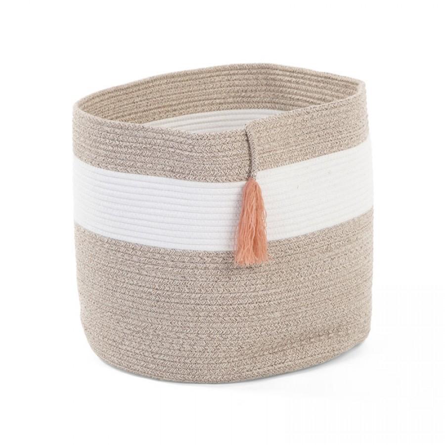 Childhome - Kosz Pleciony sznurkowy z frędzlem 38 x 40 cm White Beige - Esy Floresy