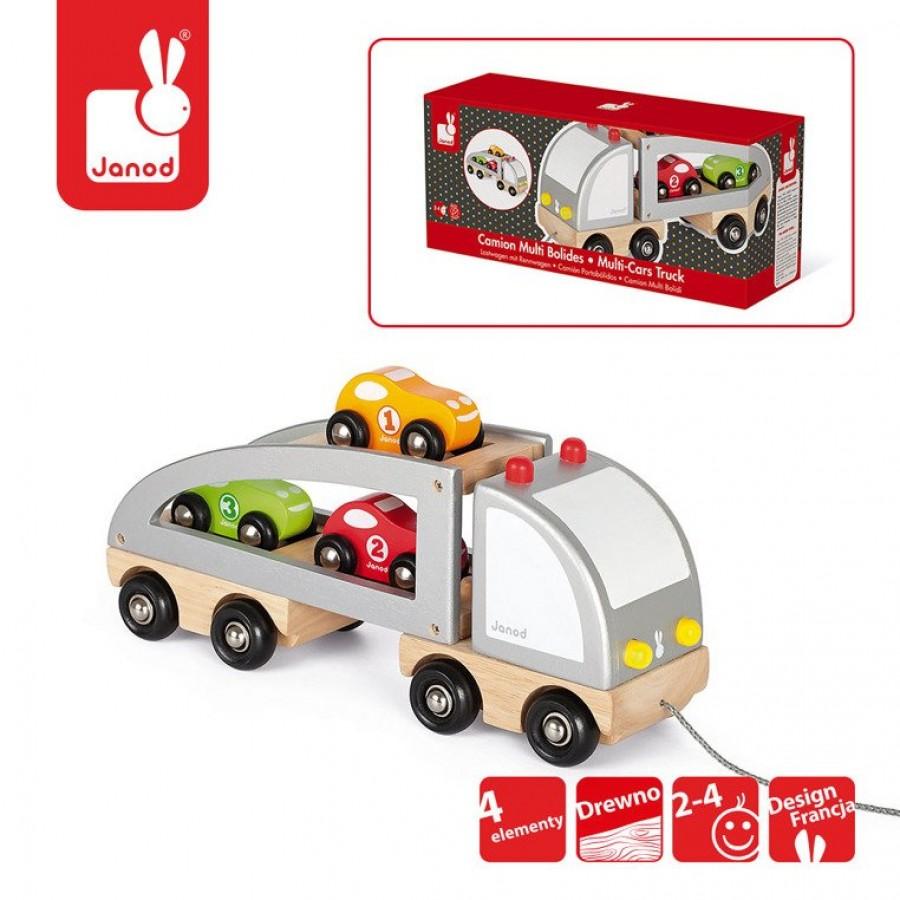 Janod - Samochód drewniany laweta do ciągnięcia - Esy Floresy