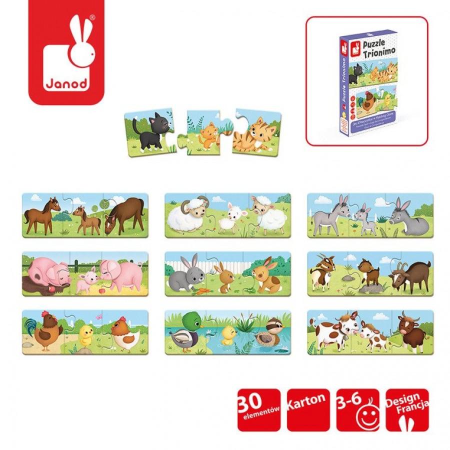 Janod - Trzyczęściowe puzzle Zwierzęta i ich dzieci 30 elementów - Esy Floresy