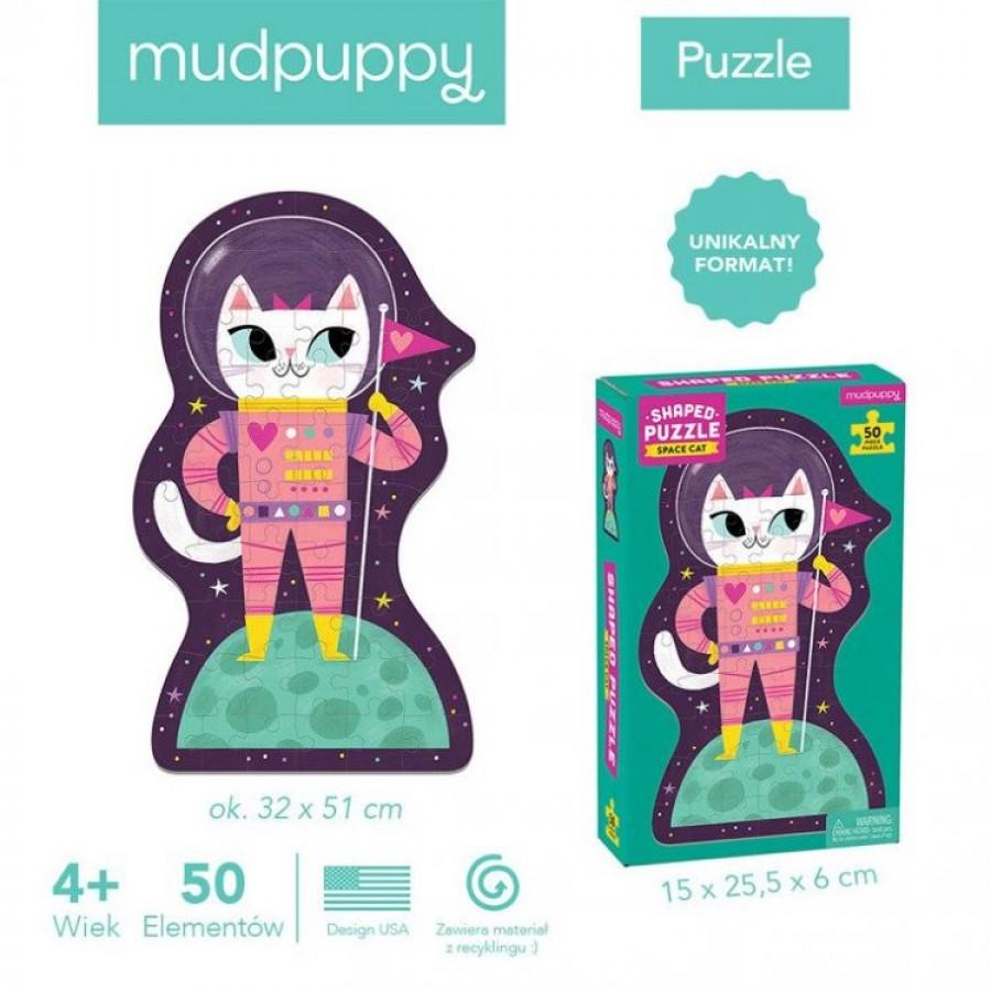 Mudpuppy - Puzzle w kształcie postaci Kotka w kosmosie 50 elementów 4+  - Esy Floresy