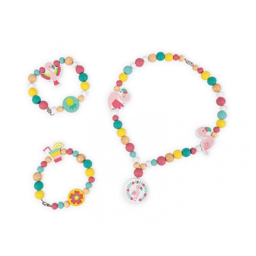 Janod - Zestaw do tworzenia biżuterii Drewniane koraliki Flamingi - Esy Floresy