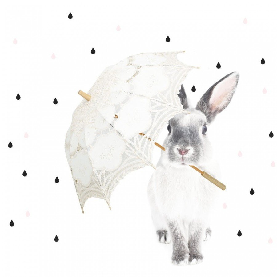 Dekornik - Naklejka Królik Harry Deszcz