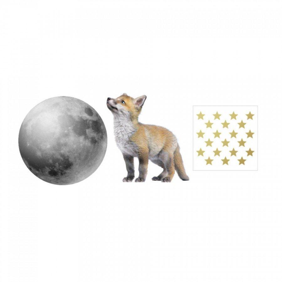 Dekornik - Naklejka Lisek i Jego Przyjaciel Księżyc | Esy Floresy