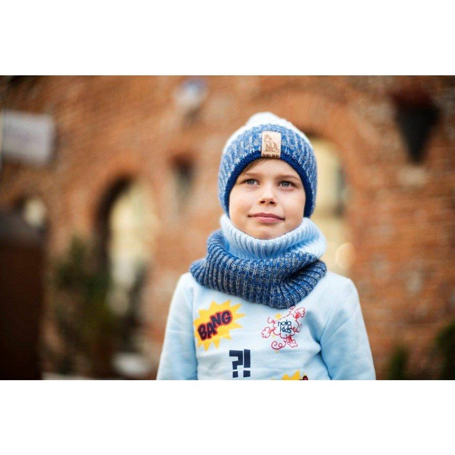 Holo Kids- Czapka z szalikiem Błękit/Granat | Esy Floresy