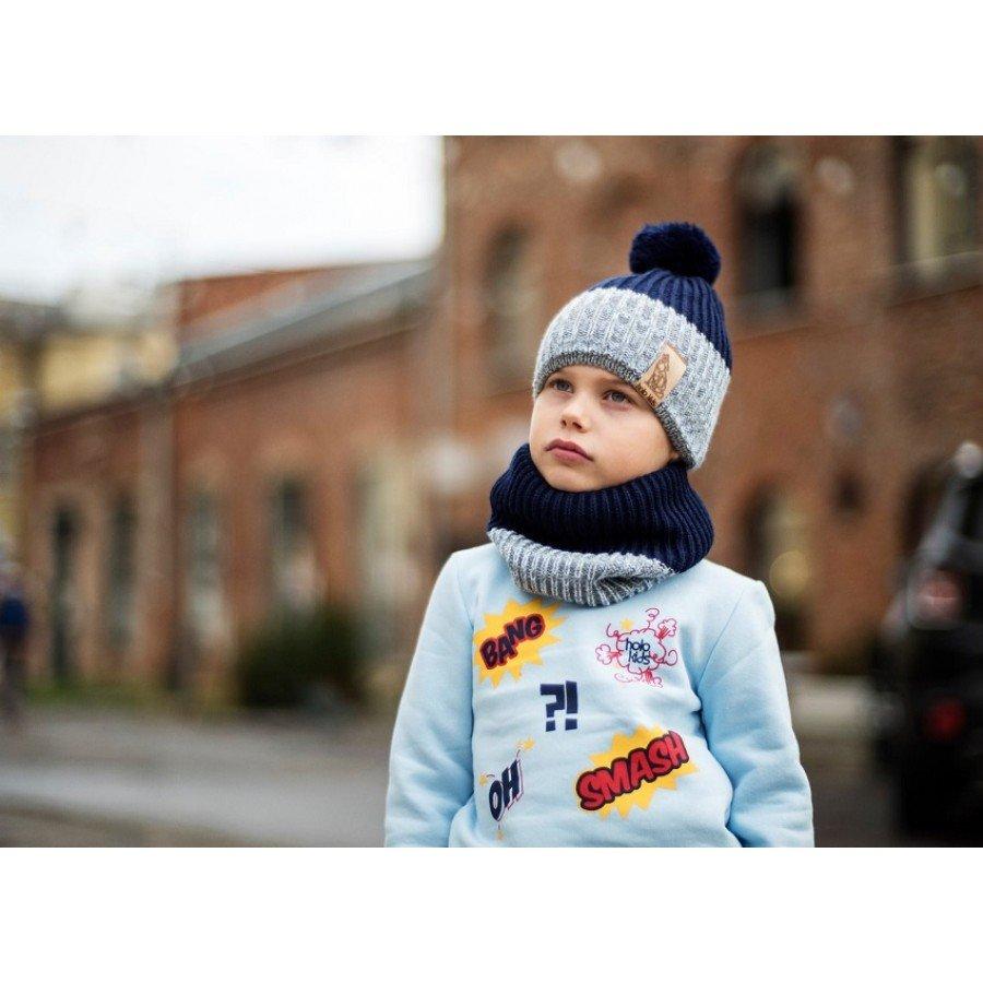 Holo Kids- Czapka z szalikiem Szary/Granat | Esy Floresy