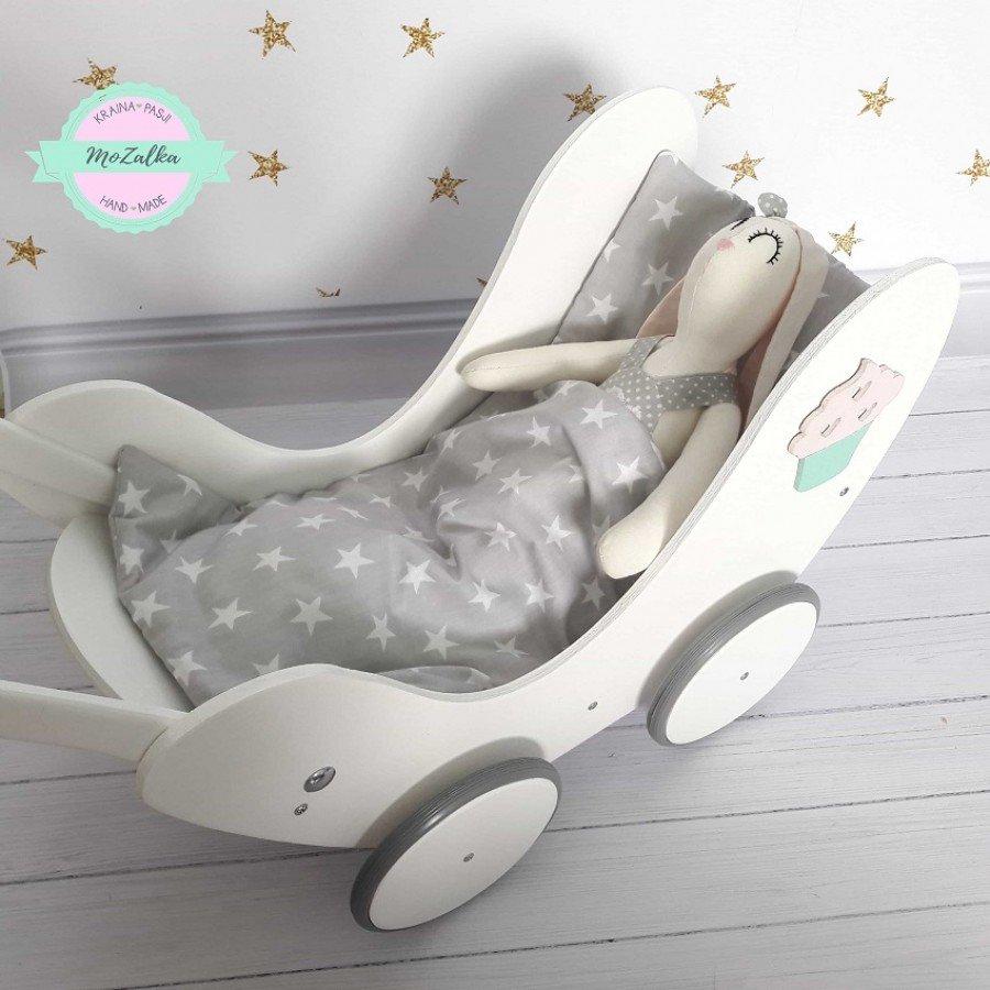 MoZalka Wózek dla lalek - Biały z miętową rączką | Esy Floresy