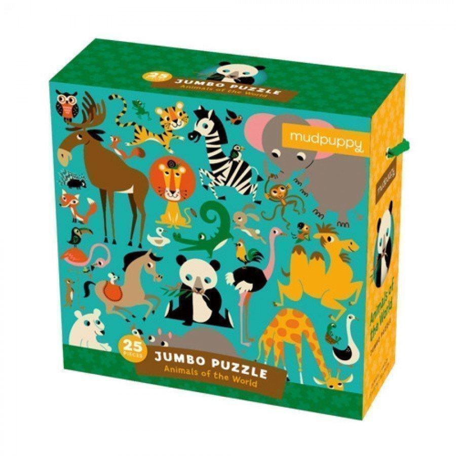 Mudpuppy - Puzzle podłogowe Jumbo Zwierzęta Świata 25 elementów 2+  | Esy Floresy