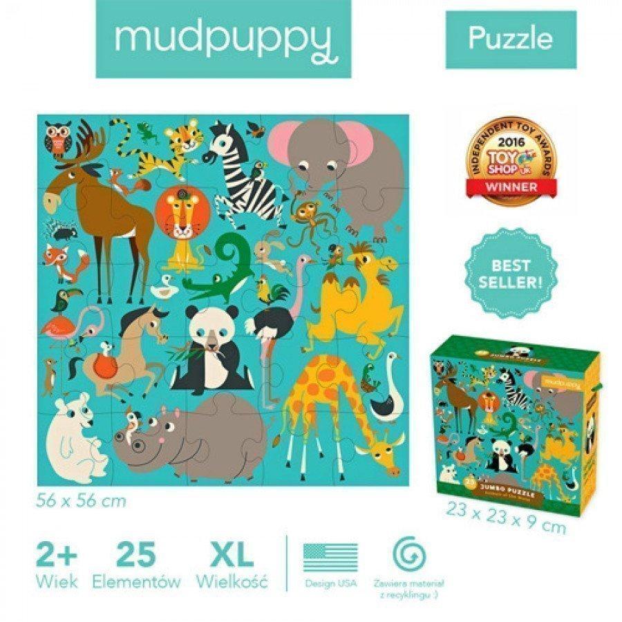 Mudpuppy - Puzzle podłogowe Jumbo Zwierzęta Świata 25 elementów 2+  - Esy Floresy