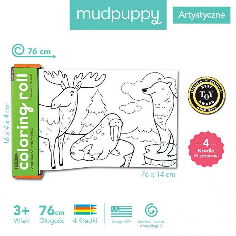 Mudpuppy - Kolorowanka w rolce 76cm z 4 kredkami Zwierzęta Świata - Esy Floresy