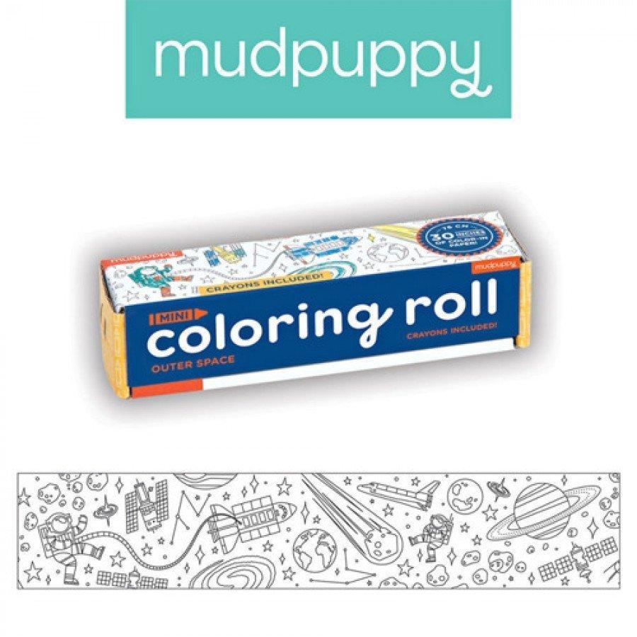 Mudpuppy - Kolorowanka w rolce 76cm z 4 kredkami Kosmos | Esy Floresy