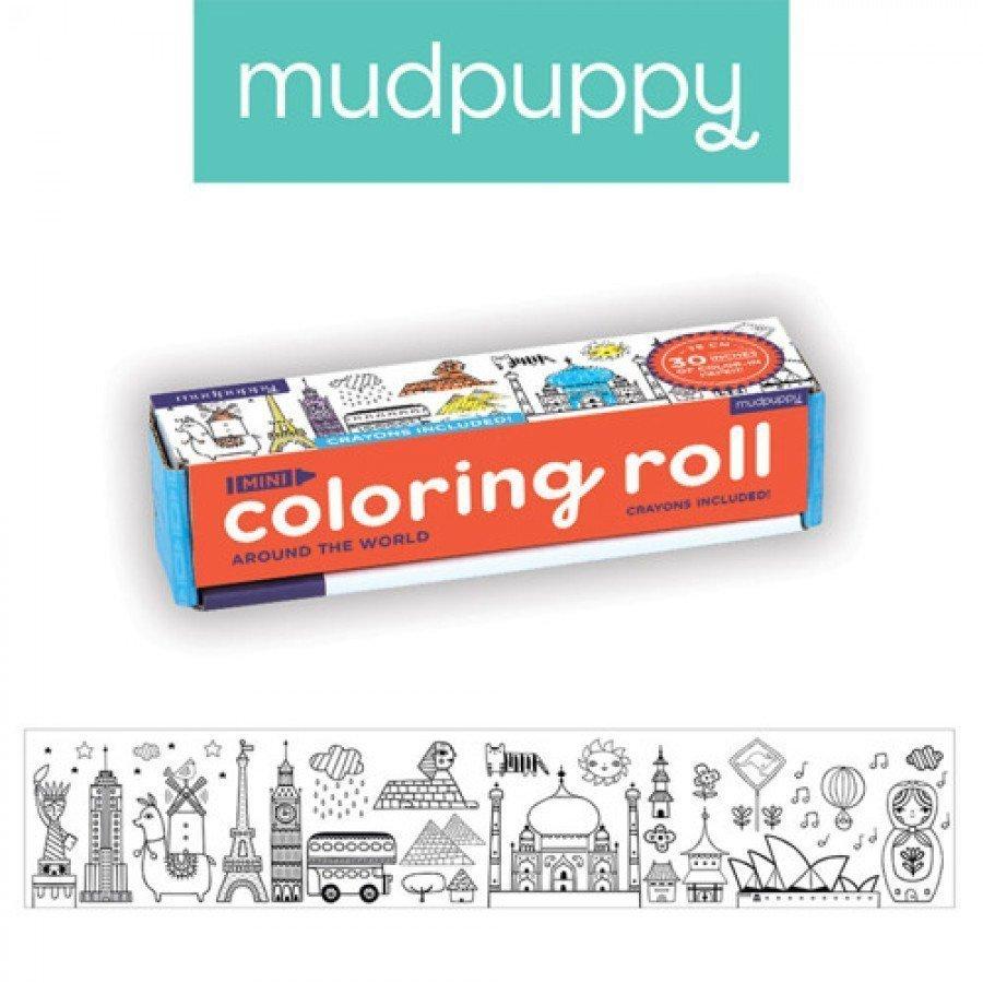 Mudpuppy -  Kolorowanka w rolce 76 cm z 4 kredkami Dookoła świata | Esy Floresy