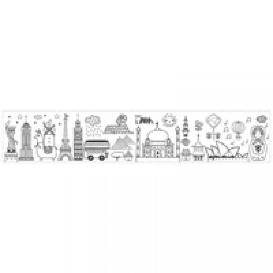 Mudpuppy -  Kolorowanka w rolce 76 cm z 4 kredkami Dookoła świata - Esy Floresy