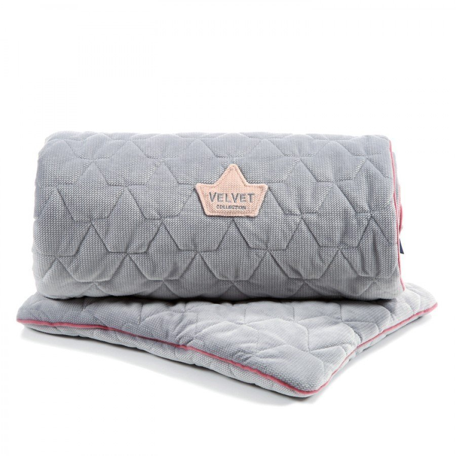 La Millou - Blanket & Mid Pillow Set / Dark Grey & Pink Velvet Collection | Esy Floresy