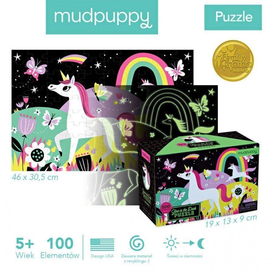 Mudpuppy - Puzzle świecące w ciemności Jednorożce 100 el. - Esy Floresy