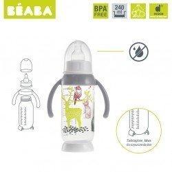 Beaba - Butelka antykolkowa z uchwytem 240ml Bunny grey   Esy Floresy