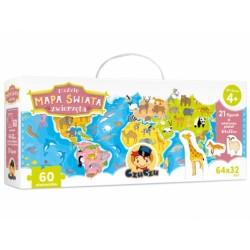 CzuCzu Puzzle Mapa świata Zwierzęta dla dzieci 4+ | Esy Floresy