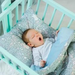 WoodLook - Koc + Poduszka Liski velvet gładki błękitny | Esy Floresy