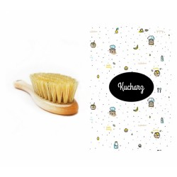 Lullalove Szczotka z naturalnego włosia w zestawie z muślinową myjką Kucharz   Esy Floresy