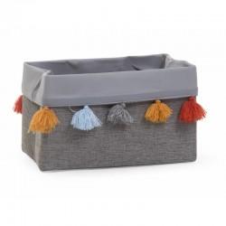 Childhome - Pudełko materiałowe 32 x 20 x 20  szare pompony | Esy Floresy