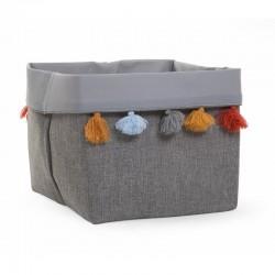 Childhome - Pudełko materiałowe 32 x 32 x 29 szary pompony .  | Esy Floresy