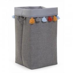 Childhome - Pudełko materiałowe 32 x 32 x 60 szary pompony .   Esy Floresy