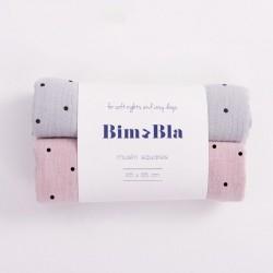 Bim Bla - Zestaw pieluszek muślinowych w kropeczki Szaro-Różowy  | Esy Floresy