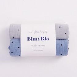 Bim Bla - Zestaw pieluszek muślinowych w kropeczki Szaro-Niebieski | Esy Floresy