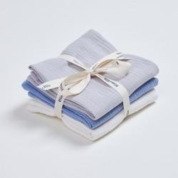 Bim Bla - Zestaw trzech pieluszek muślinowych Niebieski | Esy Floresy