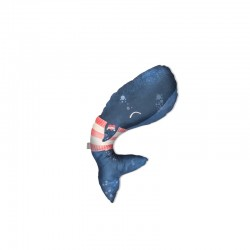Baby Bites - Poduszka do karmienia Whale 55 x 35 cm Navy Blue | Esy Floresy