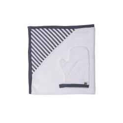 Baby Bites - Ręcznik z kapturkiem 85 x 85 cm + myjka Sailor Blue | Esy Floresy