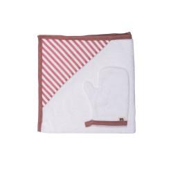 Baby Bites - Ręcznik z kapturkiem 85 x 85 cm + myjka Sailor Pink | Esy Floresy