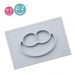 EZPZ -  Silikonowy talerzyk z podkładką 2w1 Happy Mat pastelowa szarość.    Esy Floresy