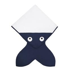 Baby Bites - Ręcznik z kapturkiem Rekinek 75 x 75 cm ciemnoniebieski | Esy Floresy