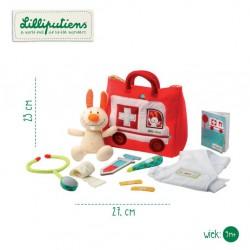 LILLIPUTIENS - Zestaw małego lekarza z torbą – samochodem, akcesoriami i przytulanką Mały królik 9 m+ | Esy Floresy