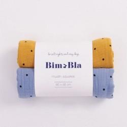 Bim Bla - Zestaw Pieluszek muślinowych w kropeczki Niebiesko-Musztardowy | Esy Floresy