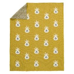 Fresk - Tkany kocyk z bawełny organicznej 100 x 150 cm Ananas Mustard | Esy Floresy