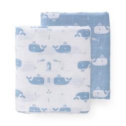 Fresk - Pieluszki muślinowe zestaw 2 szt. 120 x 120 cm Wieloryb Blue fog | Esy Floresy