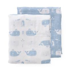 Fresk - Pieluszki muślinowe zestaw 2 szt. 70 x 60 cm Wieloryb Blue fog | Esy Floresy