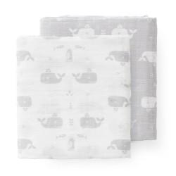 Fresk - Pieluszki muślinowe zestaw 2 szt. 70 x 60 cm Wieloryb Dawn grey | Esy Floresy
