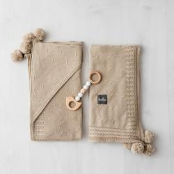 Bolo - Kocyk tkany z kapturkiem bawełna Beż   Esy Floresy