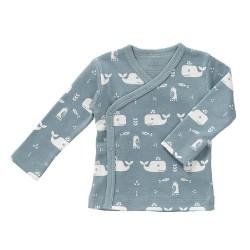 Fresk - Kardigan bawełniany 0-3 miesięcy Wieloryb Blue fog   Esy Floresy