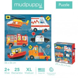 Mudpuppy - Puzzle podłogowe Jumbo Na ratunek! 25 elementów 2+ | Esy Floresy