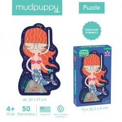 Mudpuppy - Puzzle w kształcie postaci Syrenka 50 elementów 4+   Esy Floresy