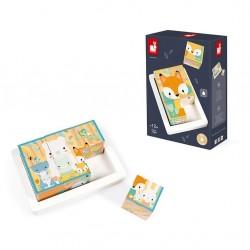 Janod - Klocki drewniane puzzle 6w1 Pure 6 elementów | Esy Floresy